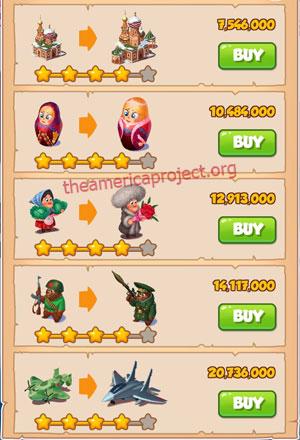 Coin Master Village 44: Russia 5 Stars Price List