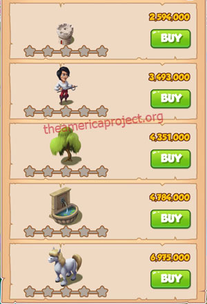 Coin Master Village 45: Musketeers 1 Star Price List