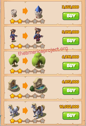 Coin Master Village 45: Musketeers 3 Stars Price List