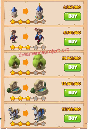 Coin Master Village 45: Musketeers 4 Stars Price List