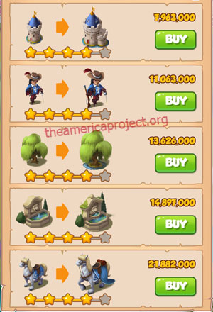 Coin Master Village 45: Musketeers 5 Stars Price List
