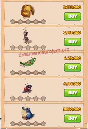 Coin Master Village 46: Lady Bug 1 Star Price List