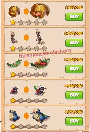 Coin Master Village 46: Lady Bug 2 Stars Price List
