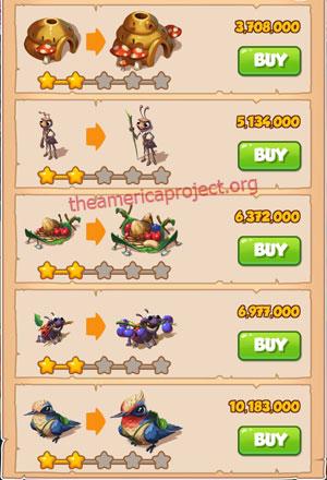 Coin Master Village 46: Lady Bug 3 Stars Price List