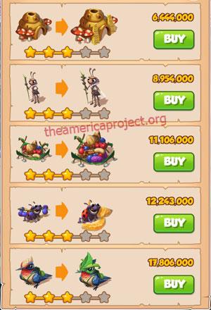Coin Master Village 46: Lady Bug 4 Stars Price List