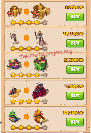 Coin Master Village 46: Lady Bug 5 Stars Price List