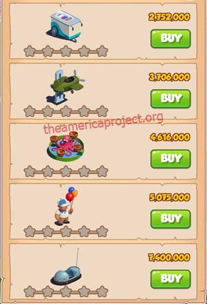 Coin Master Village 47: Theme Park 1 Star Price List