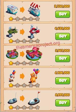 Coin Master Village 47: Theme Park 2 Stars Price List