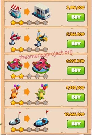 Coin Master Village 47: Theme Park 3 Stars Price List