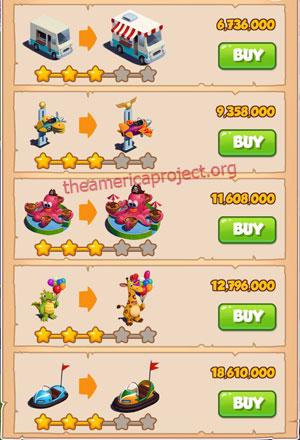 Coin Master Village 47: Theme Park 4 Stars Price List