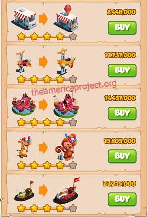 Coin Master Village 47: Theme Park 5 Stars Price List