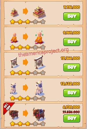 Coin Master Village 48: Tibet 4 Stars Price List