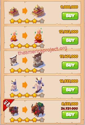 Coin Master Village 48: Tibet 5 Stars Price List