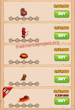 Coin Master Village 48: Tibet 1 Star Price List
