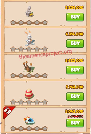 Coin Master Village 50: Easter 1 Star Price List