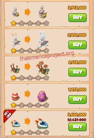 Coin Master Village 50: Easter 2 Stars Price List