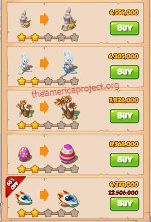 Coin Master Village 50: Easter 3 Stars Price List