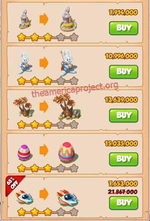 Coin Master Village 50: Easter 4 Stars Price List