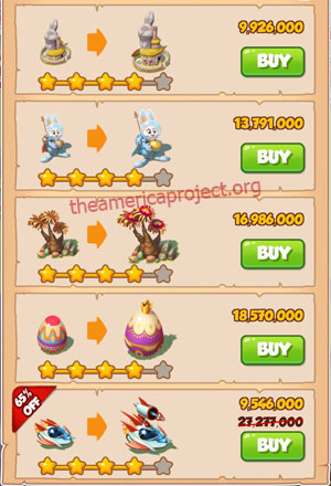 Coin Master Village 50: Easter 5 Stars Price List