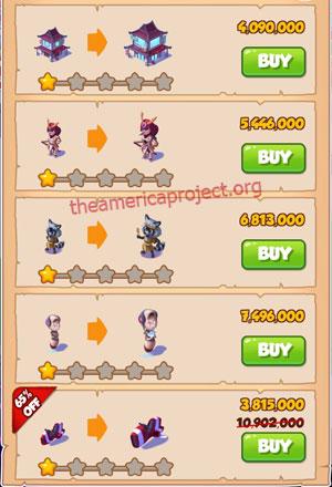 Coin Master Village 51: Japan 2 Stars Price List