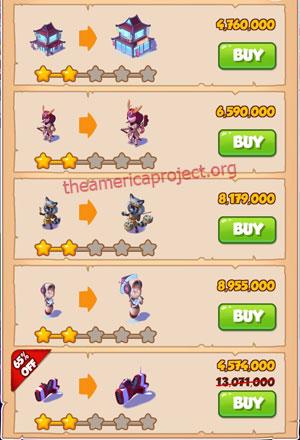 Coin Master Village 51: Japan 3 Stars Price List