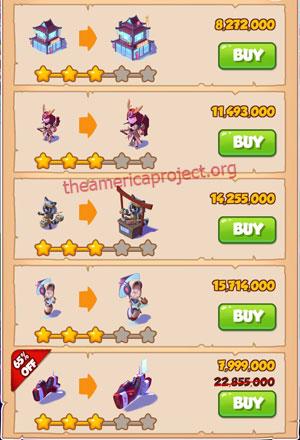 Coin Master Village 51: Japan 4 Stars Price List