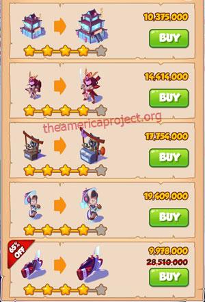 Coin Master Village 51: Japan 5 Stars Price List