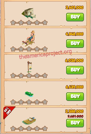 Coin Master Village 52: Swamp 1 Star Price List