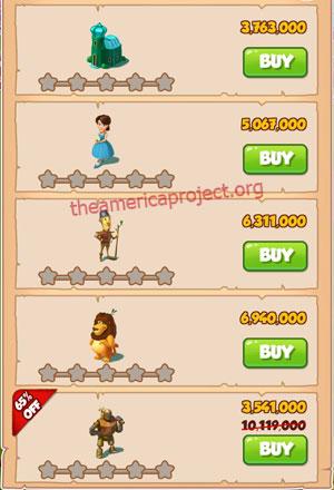 Coin Master Village 53: Wizard of Oz 1 Star Price List