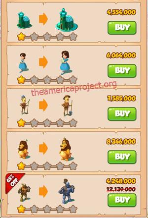 Coin Master Village 53: Wizard of Oz 2 Stars Price List