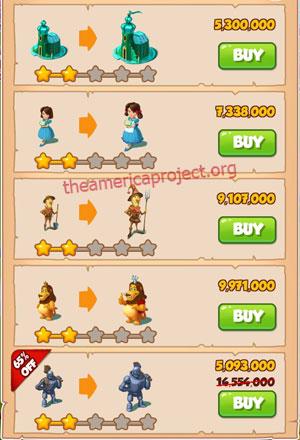 Coin Master Village 53: Wizard of Oz 3 Stars Price List