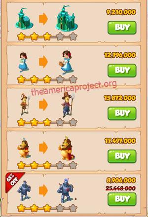 Coin Master Village 53: Wizard of Oz 4 Stars Price List