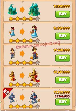 Coin Master Village 53: Wizard of Oz 5 Stars Price List