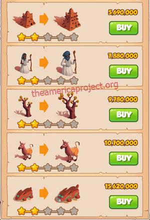 Coin Master Village 54: Timbuktu 3 Stars Price List