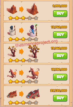 Coin Master Village 54: Timbuktu 4 Stars Price List