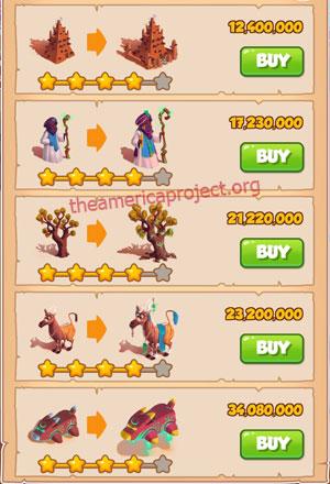 Coin Master Village 54: Timbuktu 5 Stars Price List