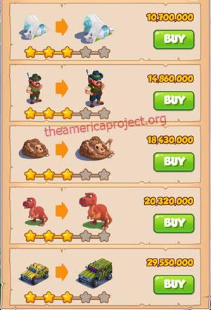 Coin Master Village 55: Jurassic Ville 4 Stars Price List