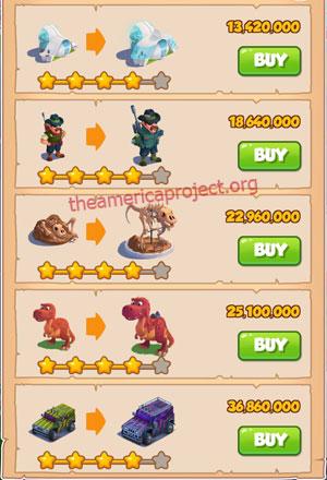 Coin Master Village 55: Jurassic Ville 5 Stars Price List