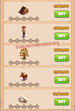 Coin Master Village 56: Canada 1 Star Price List