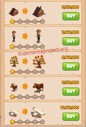 Coin Master Village 56: Canada 2 Stars Price List