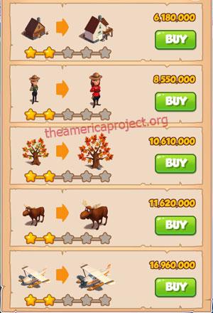 Coin Master Village 56: Canada 3 Stars Price List