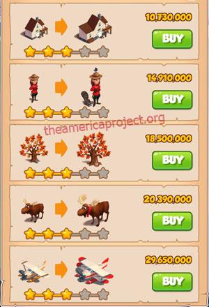 Coin Master Village 56: Canada 4 Stars Price List