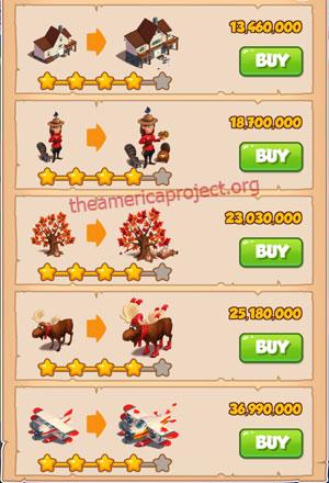 Coin Master Village 56: Canada 5 Stars Price List