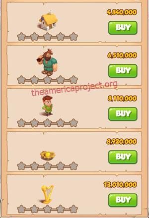 Coin Master Village 58: Jacks Beanstalks 1 Star Price List