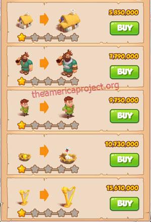 Coin Master Village 58: Jacks Beanstalks 2 Stars Price List