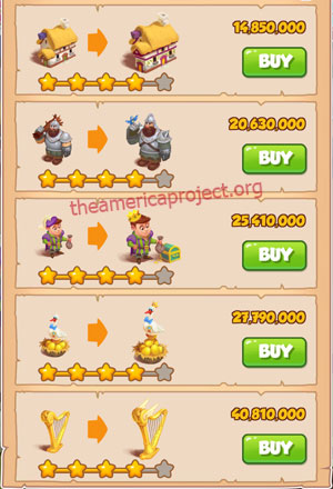 Coin Master Village 58: Jacks Beanstalks 5 Stars Price List
