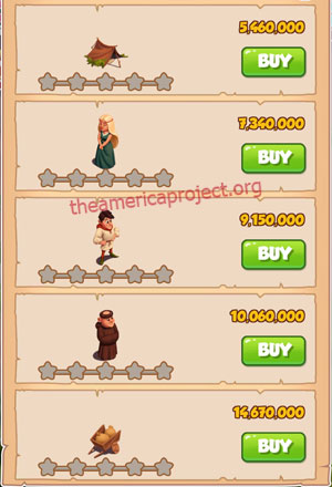 Coin Master Village 60: Robin Hood 1 Star Price List