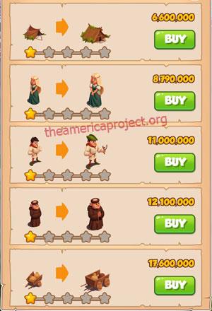 Coin Master Village 60: Robin Hood 2 Stars Price List