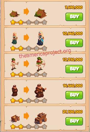 Coin Master Village 60: Robin Hood 3 Stars Price List