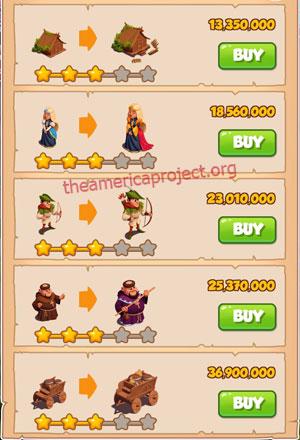 Coin Master Village 60: Robin Hood 4 Stars Price List